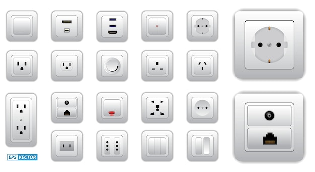 Set of socket and switch electrical or realistic electrical plug and switch or computer connectors