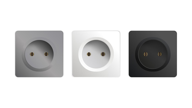 Set of sockets isolated on a white background. interior design element illustration