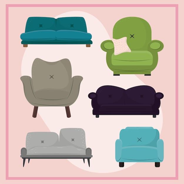 Set sofa armchair