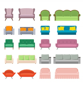 Set of sofas and armchairs in a flat style, house modern canaps vector colored illustration