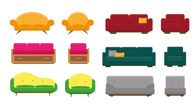 Set of sofas and armchairs for living room