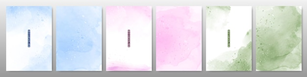 Set of soft bright watercolor background