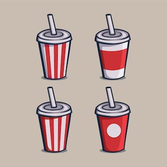 Set of soft drink paper cups icon isolated vector illustration with outline cartoon simple color