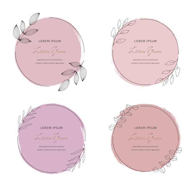 Set soft pastel pink round brush stroke watercolor texture with round leaves frames. geometric shape with hand drawing watercolor washes.