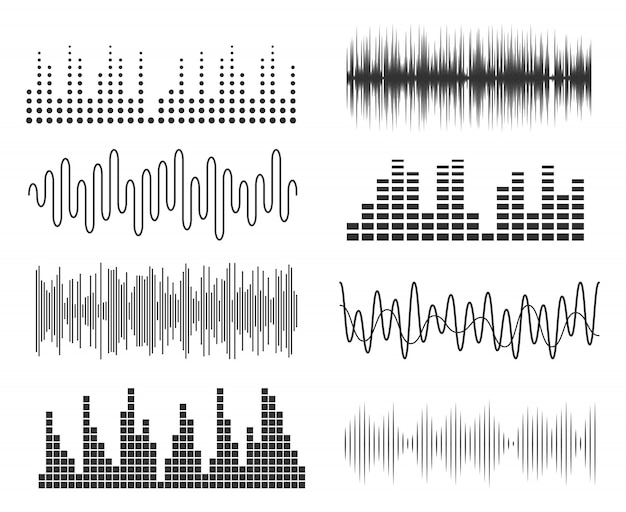 Set of sound music waves. audio technology musical pulse or sound charts. music waveform equalizer