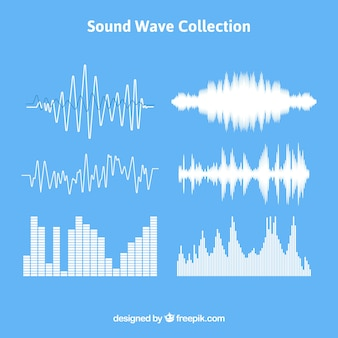 Set of sound waves with different designs