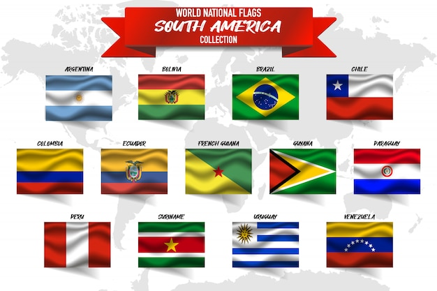 Set of south america country national flag on world map background.