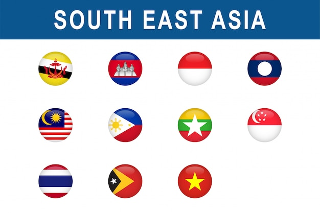 Set of south east asian countries round flags