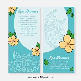 Set of spa banners with flowers