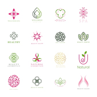 Set of spa and beauty logo vector