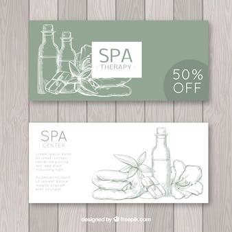 Set of spa center banners with candles and aromatic flowers