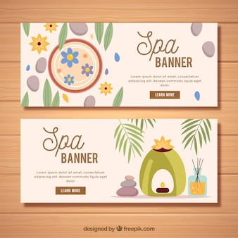 Set of spa center banners with candles and aromatic oils