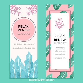 Set of spa center banners with treatments
