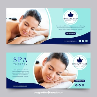 Set of spa center banners with woman relaxed Free Vector