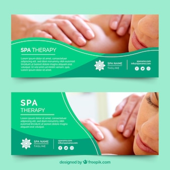 Set of spa center banners with woman relaxed