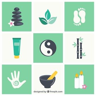 Set di elementi del centro benessere con prodotti aromatici
