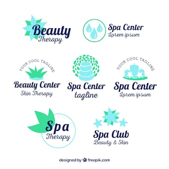 Set of spa center logos in flat style