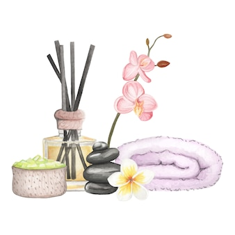 Set spa element hand drawn watercolor illustration on white
