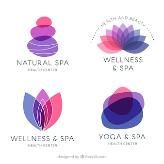 Set of spa logos in flat style