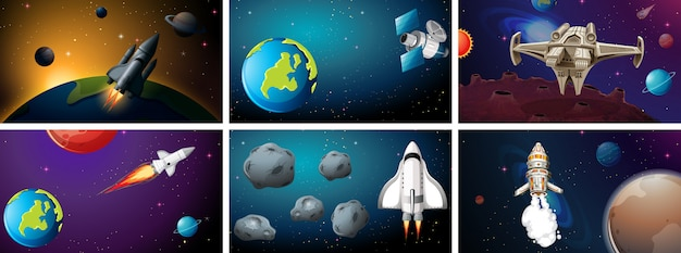 Set of space background scenes