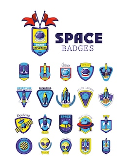 Set of space badges