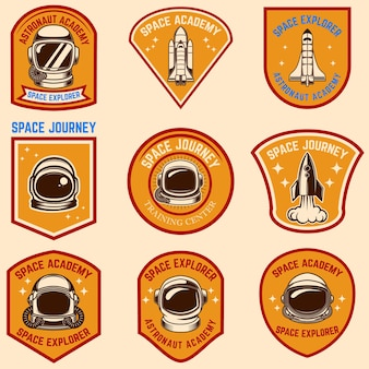 Set of space camp label templates.