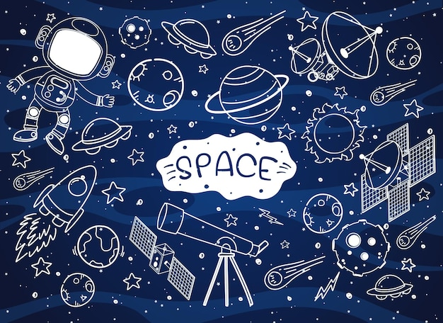 Set of space element doodle isolated on galaxy background