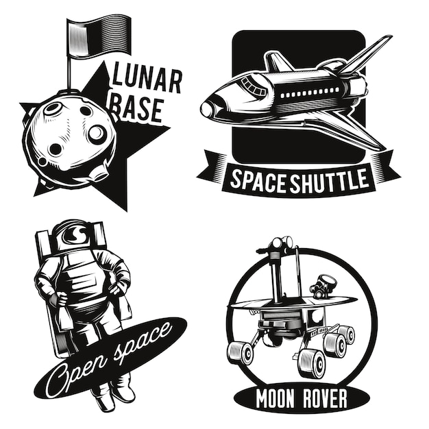 Set of space emblems