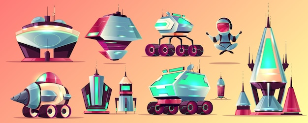 Set of space exploration rockets and vehicles, science fiction alien buildings cartoon