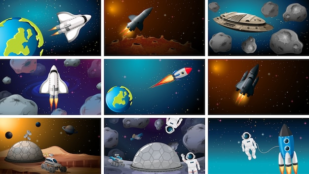 Set of space exploration scenes background