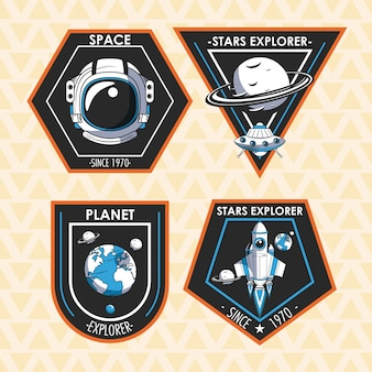 Set of space explorer patches emblems design