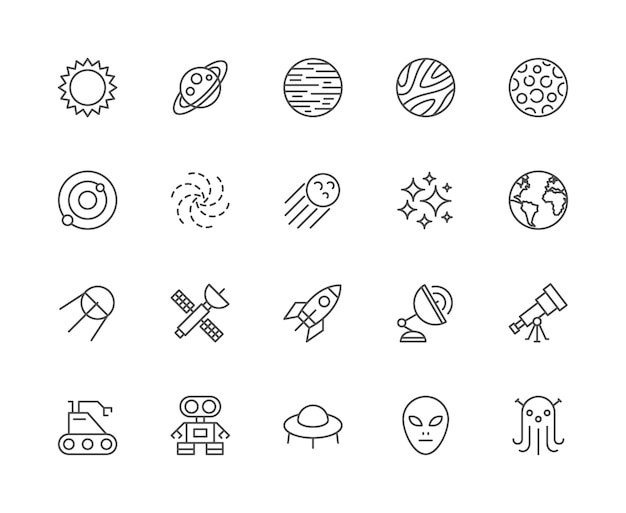 Set of space line icons. sun, solar system, galaxy, cosmos, stars and more.