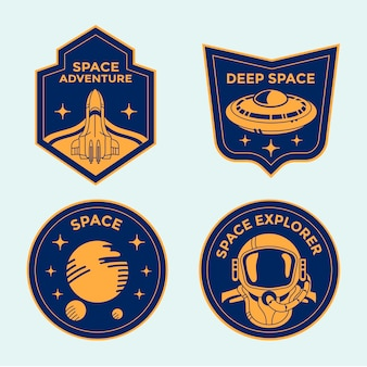 Set of space mission badges