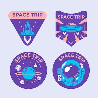 Set of space mission patch badges and logo emblems
