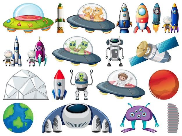 Set di oggetti spaziali ed elementi isolati su sfondo bianco
