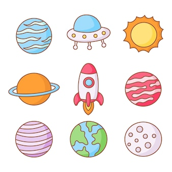Set of space. planets cartoon style. isolated on white background.