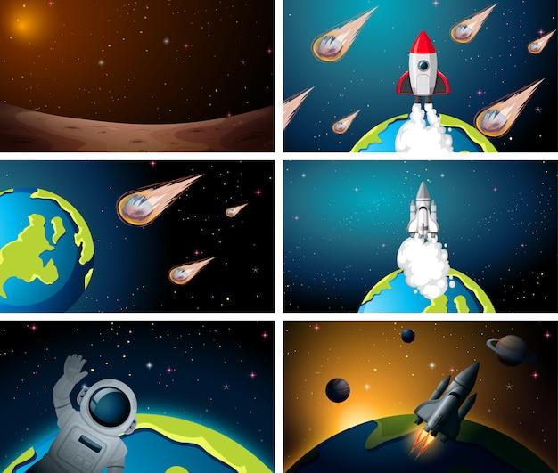 Set of space rocket scenes