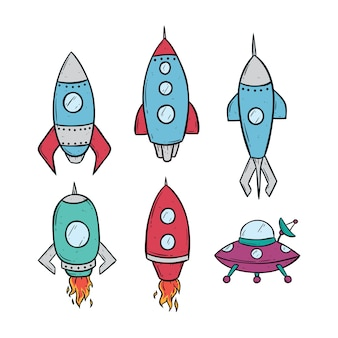 Set of space rockets using doodle art on white background