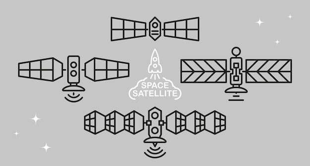 Set of space satellites in doodle style.
