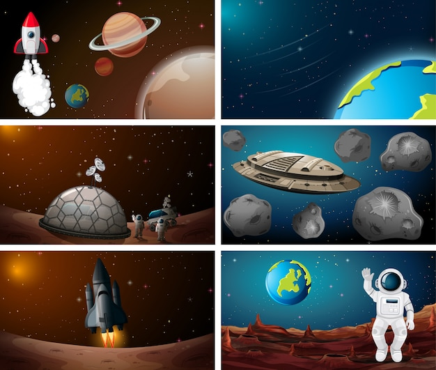 Set of space scene background