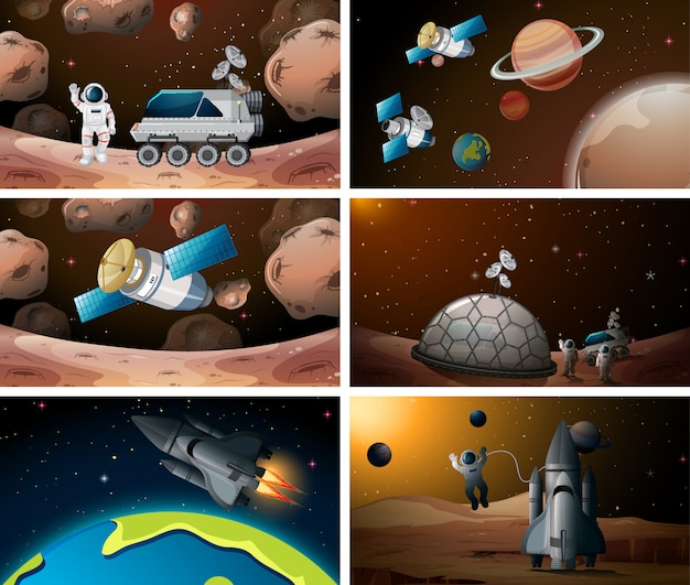 Set of space scene