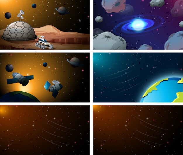 Set of space scenes background set