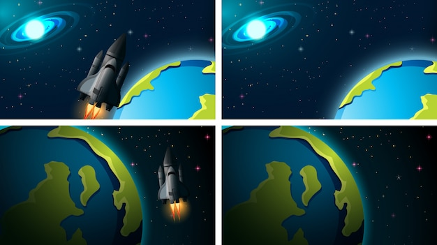 Set of space scenes background