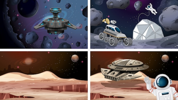 Set of space scenes or background
