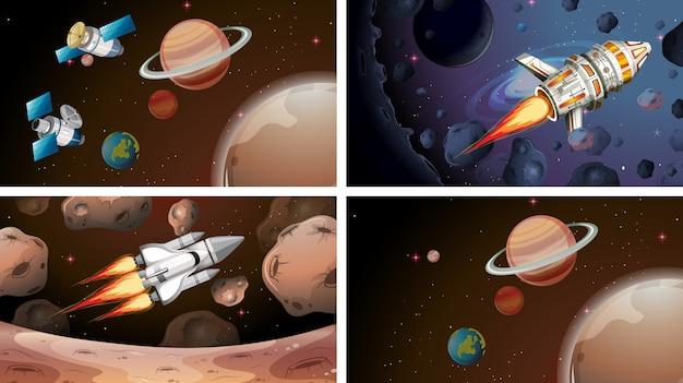 Set of space scenes