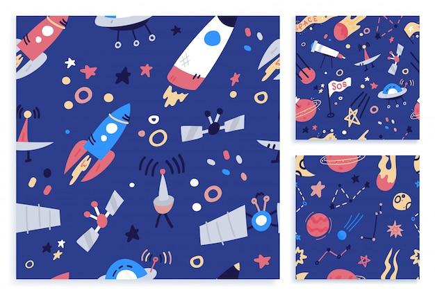 スペースのシームレスなパターン印刷デザインを設定します。フラット漫画落書きイラストデザインのファッション生地、テキスタイルグラフィック、プリント。