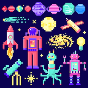 Set of space stars alien spaceman robot rocket and satellite cubes solar system planets pixel art