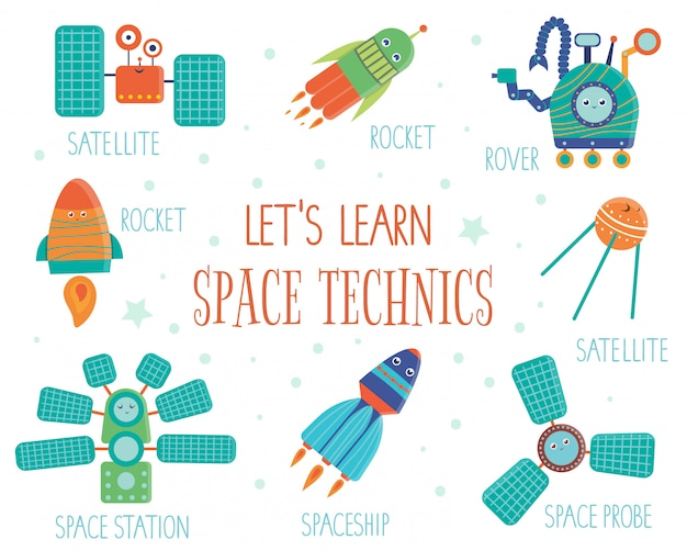 Set of space technics for children. bright and cute flat illustration of spaceship,  rocket,  satellite,  space station,  rover with names isolated