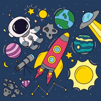 Set of space theme cartoon doodles