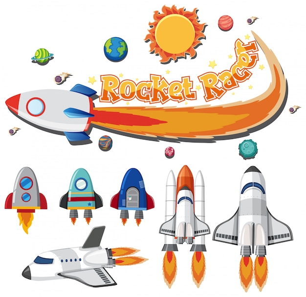 Set of spaceship and rocket racer on white